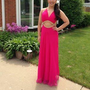 Fuchsia Open Back Prom Dress